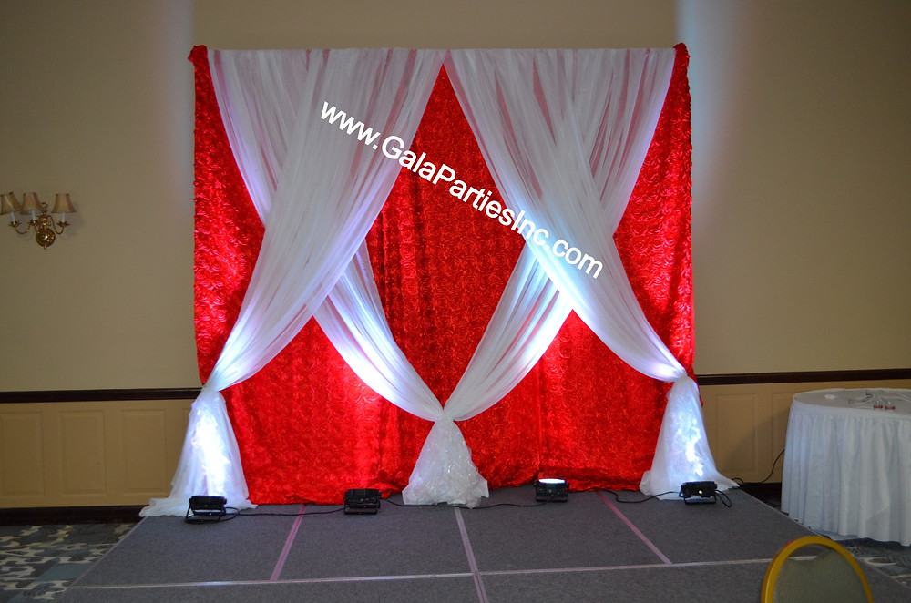 DIY Wedding Backdrop Red & White Wedding Event Stage Decor