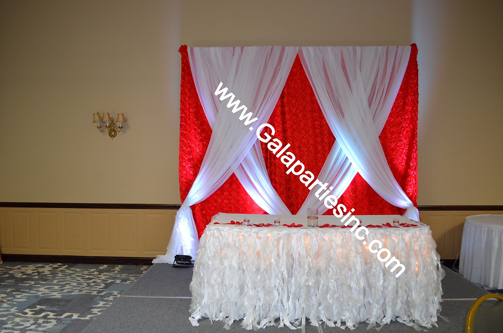 DIY Wedding Backdrop Red & White Decor Event Stage