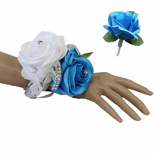 Set: Turquoise Blue and White Wrist Corsage & Boutonniere