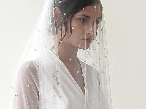 Wedding Veil, Fingertip Length Veil, Veil With Pearl, Mid Length Veil  4022