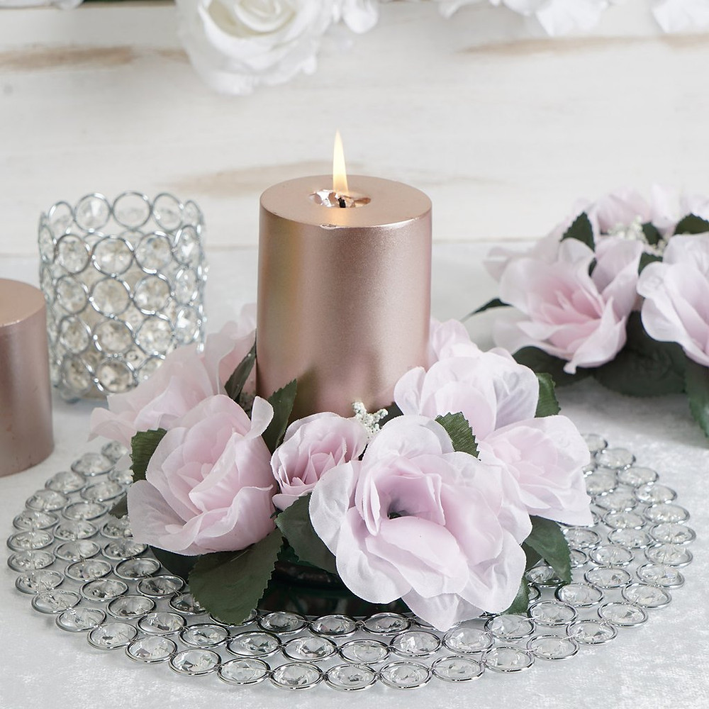 Rose Gold Artificial Silk Rose Floral Candle Rings Centerpieces Wedding Event Birthday
