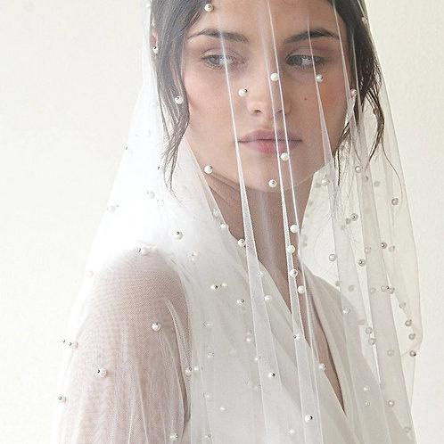Wedding Pearls Soft Tulle  Veil #4023
