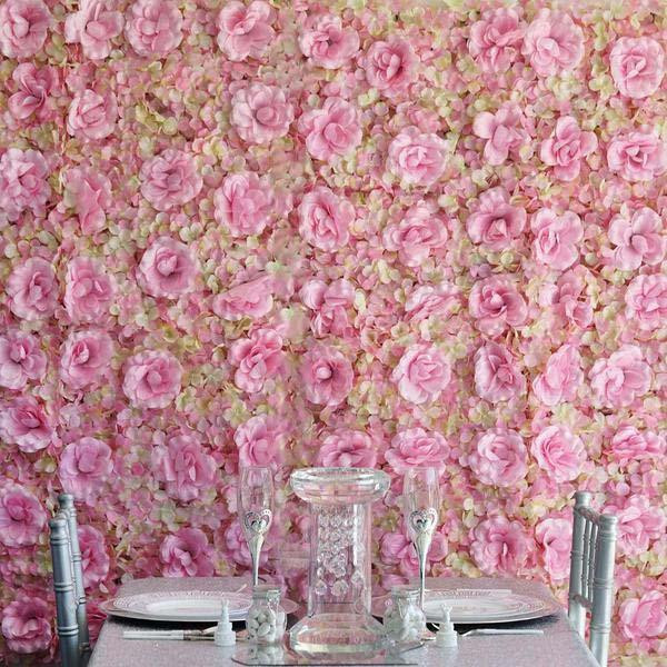 DIY Wedding Backdrop Pink/Cream Silk Rose & Hydrangea Flower Wall Mat Panel