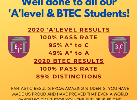 2020 'A' LEVEL RESULTS