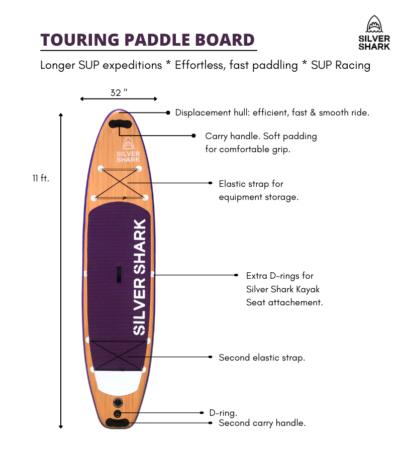Touring inflatable paddle board race sup 11 ft silver shark canada