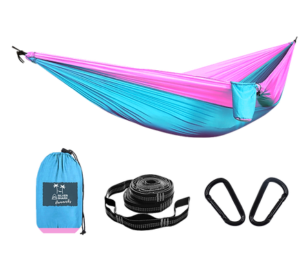 Pink Sky | Silver Shark Double Hammock With Straps