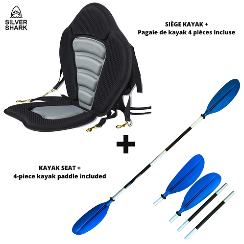 Premium Kayak Seat+ 4-Piece Kayak Paddle (Compatible with our Touring Boards)