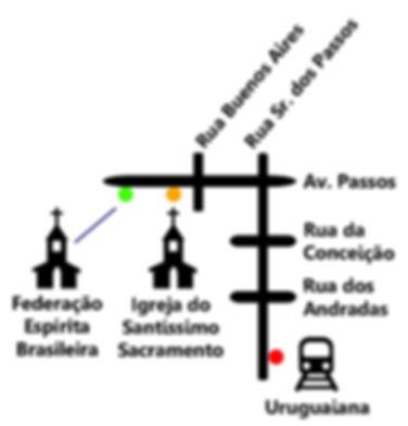 Mapa esquemático. Trajeto do Metro até a Igreja.
