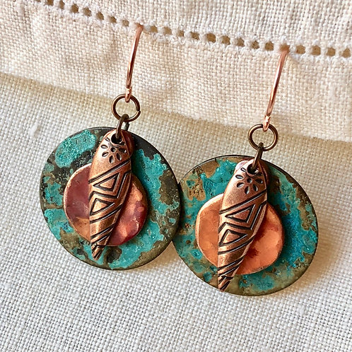 Copper with Geometric Feather
