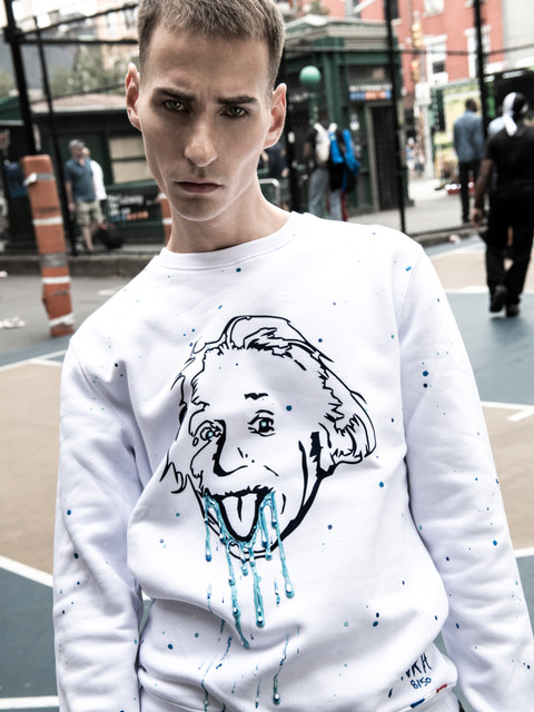 sweat blanc Einstein peinture