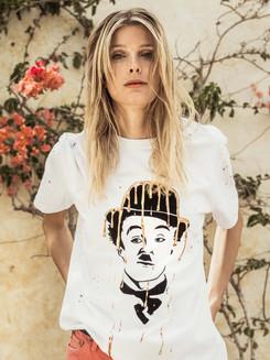 Tee-shirt blanc femme Chaplin