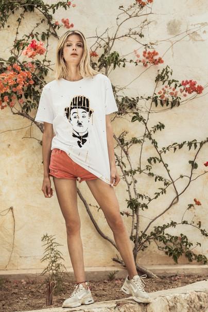 Tee-Shirt Blanc - Curious Chaplin