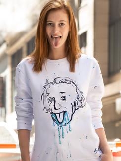 Sweat blanc Einstein peinture