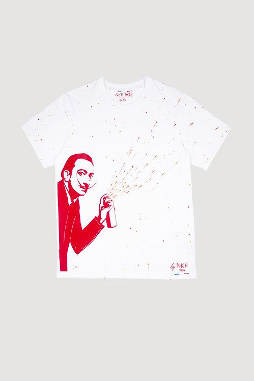 Tee-shirt blanc - Dali graffiti