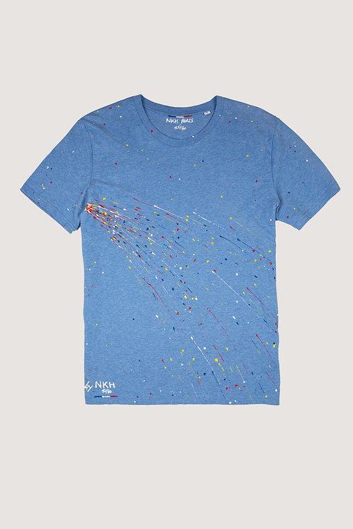 Tee-shirt bleu chiné - Blue firework