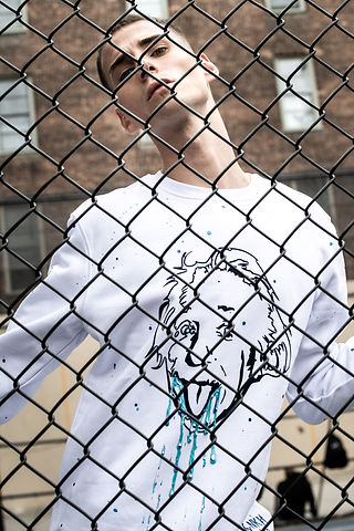 Sweat blanc Einstein bleu peinture