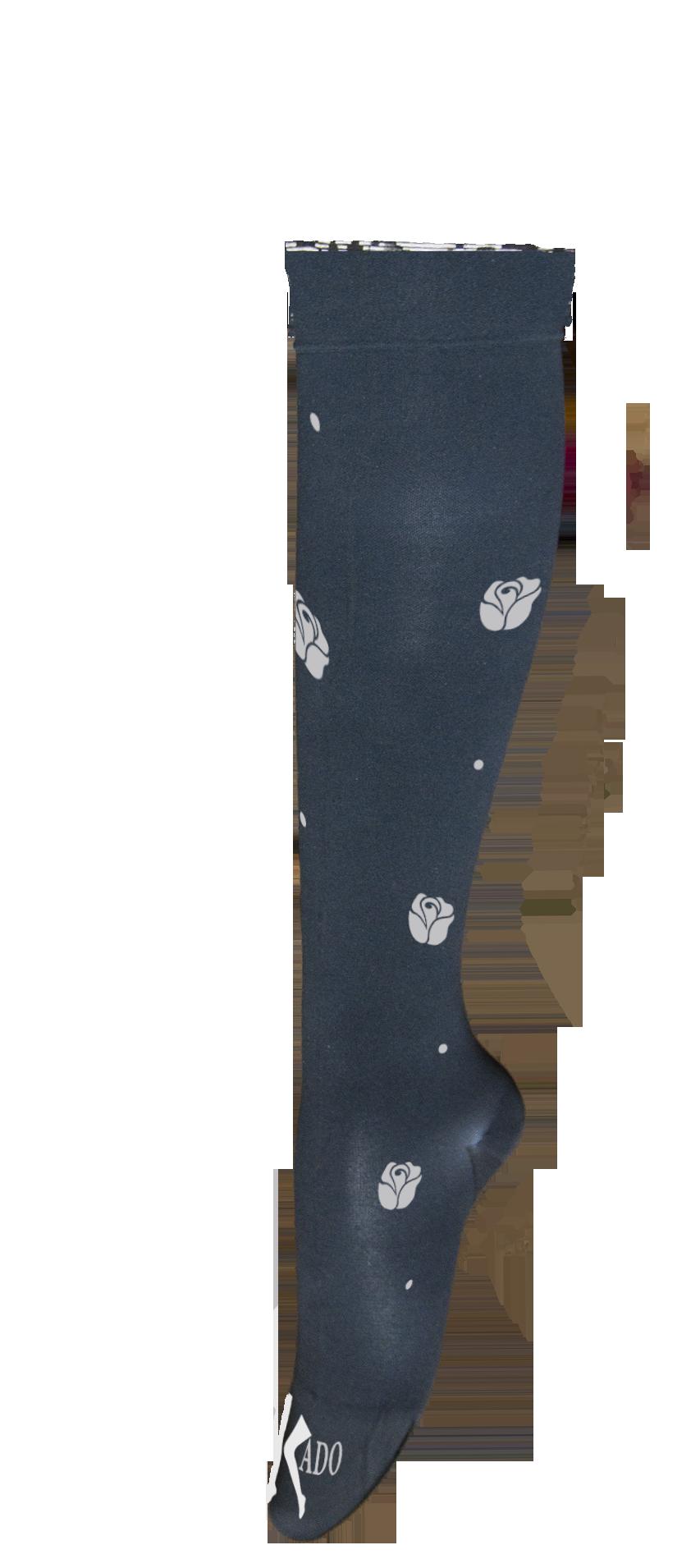 motif sur chaussette Noir Petites roses et poids