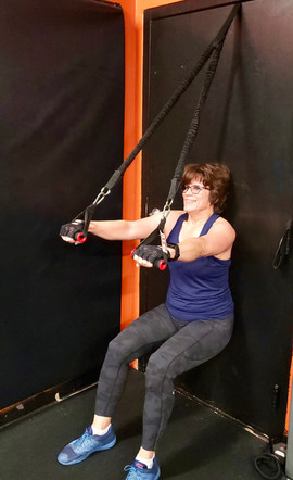Resistance Band Wall Sit - Lat Pulldown