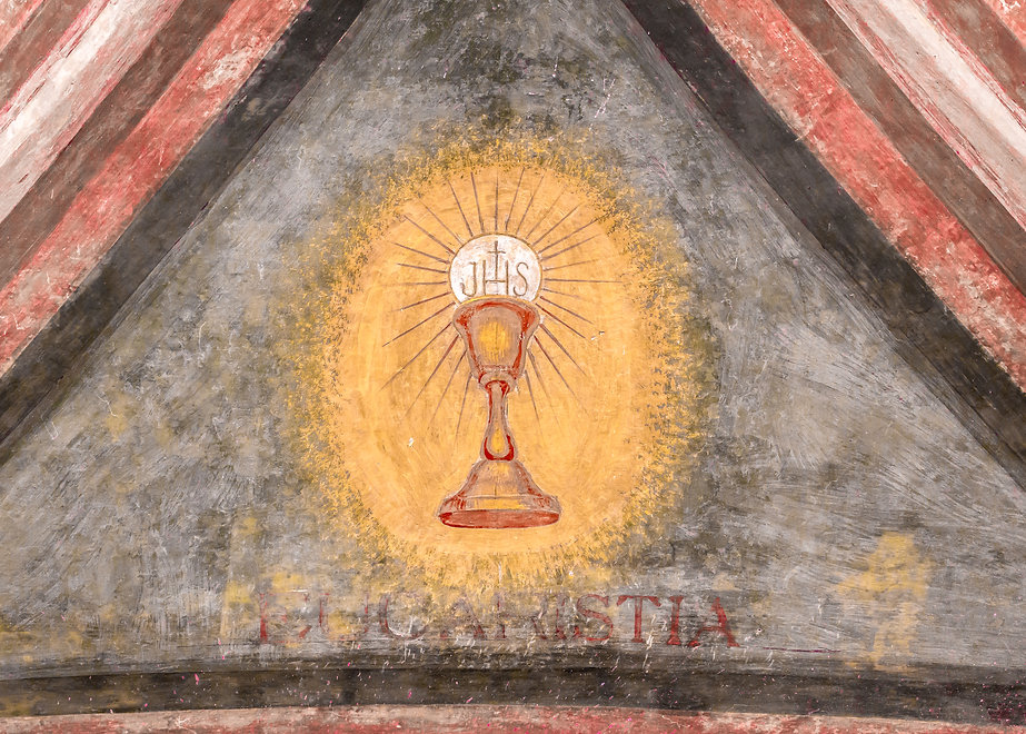 A fresco depicting the sacred chalice of