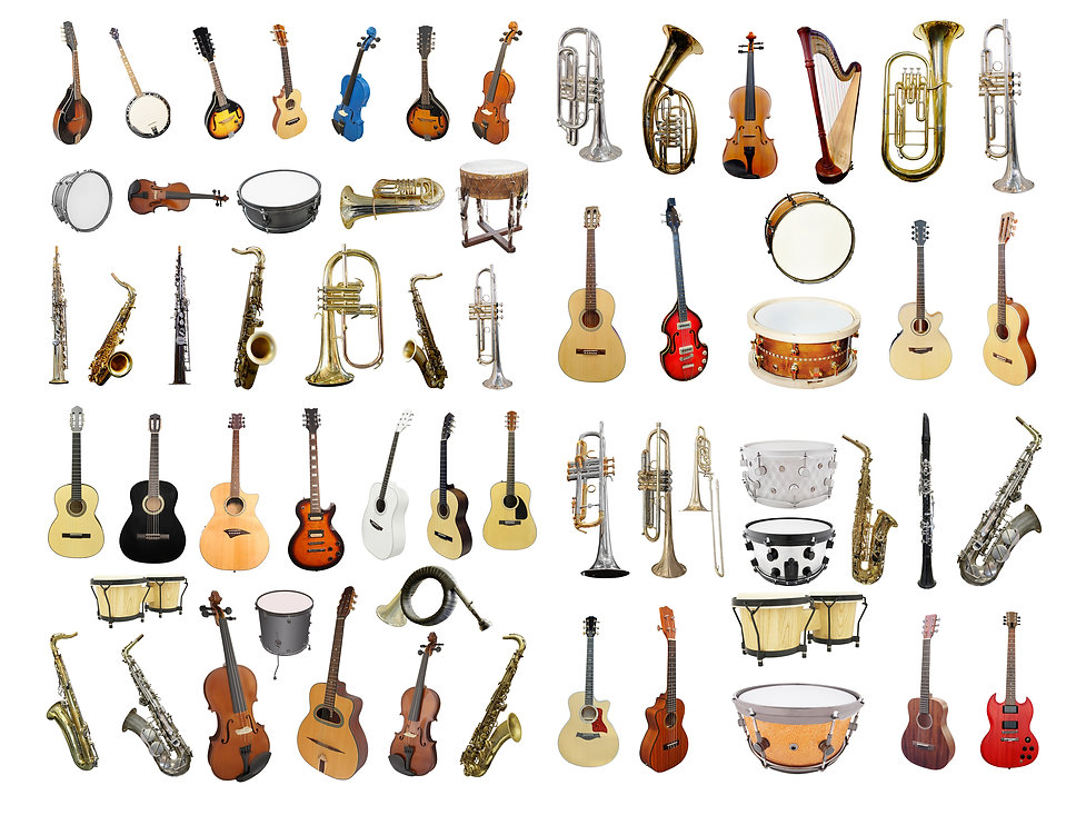 Musical instruments isolated under a whi