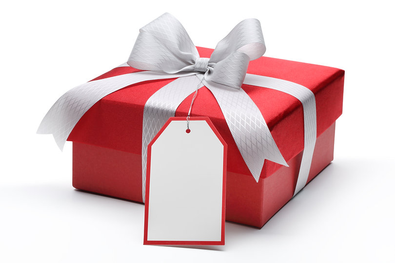 Red gift box with silver bow and tag.jpg