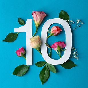 Composition with number 10 and beautiful
