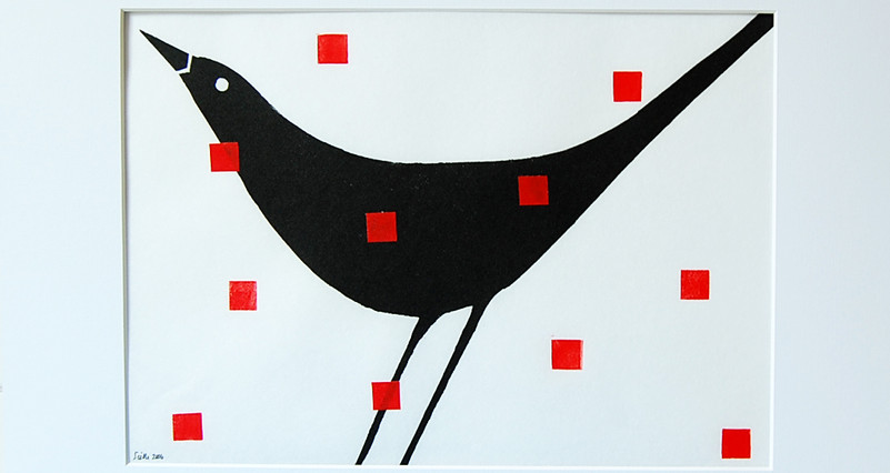 Blackbird,red squares..lino print.10x14,