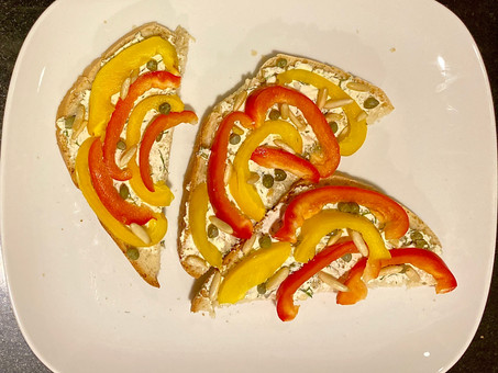 Peppers, goat's cheese and dill canapés