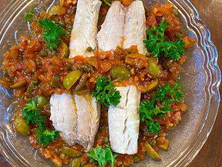 Fish in olive and caper sauce