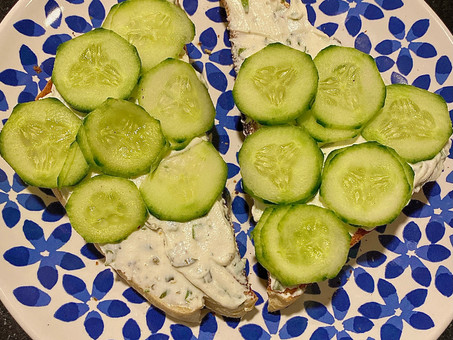 Herbed cream cheese and cucumbers on toast