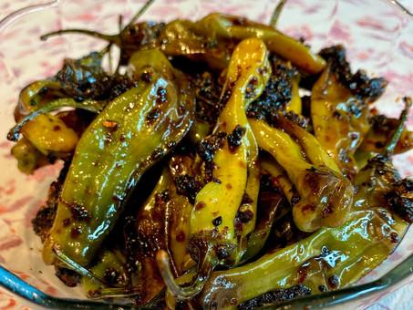 Blistered shishito peppers -- Korean style