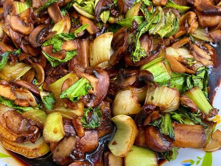 Soy mushrooms and bok choi