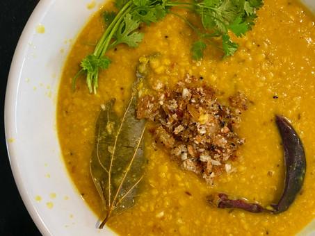 Calcutta yellow split peas with coconut and golden raisins (Cholar dal)