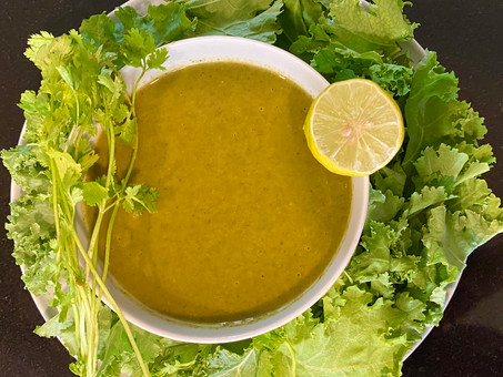Super-greens soup with moringa and kale from Senegal