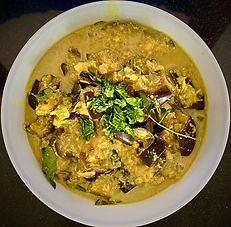 Sri Lankan eggplant curry in coconut milk