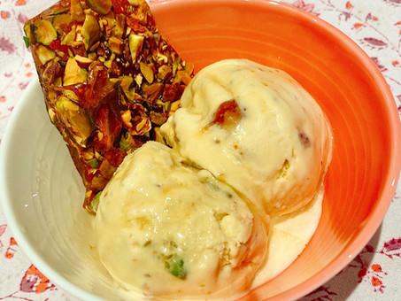 Honey-pistachio brittle ice cream with lavender sauce