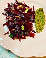 Beet slaw with pistachio butter and raisins