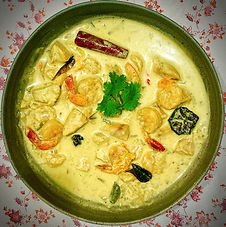 White seafood curry - with coconut-pandanus rice
