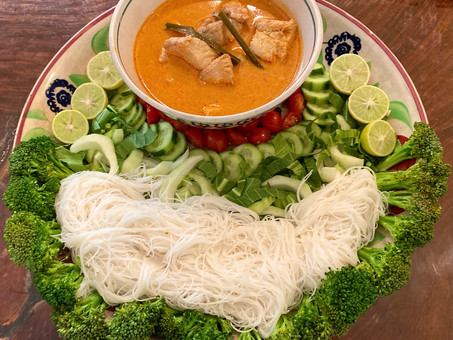 Thai fish curry with vermicelli