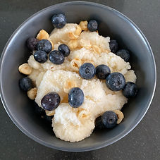 Milk ice with blueberries and hazelnuts