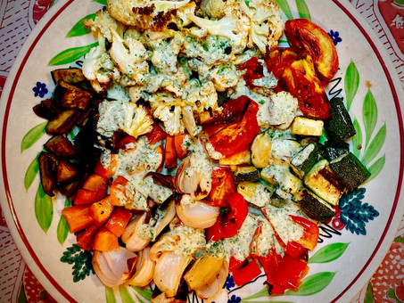 Mixed roasted vegetables with yoghurt and green chilli oil
