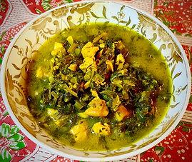 Persian celery stew with chicken (Khoresh Karafs)