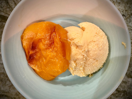 Fresh apricot ice cream with roasted apricots