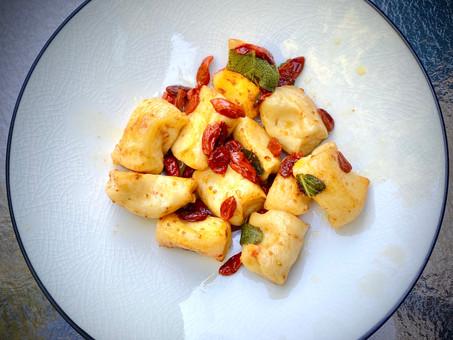 Ricotta gnudi with sage-goji berry-brown butter