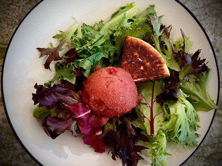 Watermelon gazpacho -- Thai style & and gazpacho sorbet with melted Manouri cheese salad