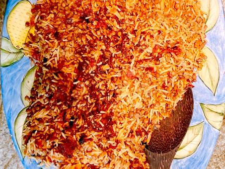 Lentil rice tahdig or Adas polo