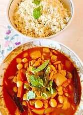 Chicken tagine with olives, chickpeas and pine nuts