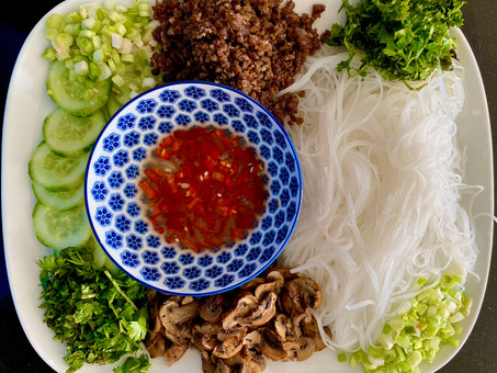 Thai cellophane noodle salad with roasted mushrooms and lamb