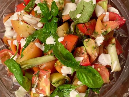 Heirloom tomatoes with white gazpacho dressing