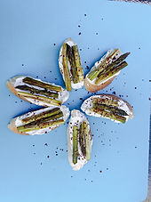 Roasted asparagus crostini with lemon cream cheese